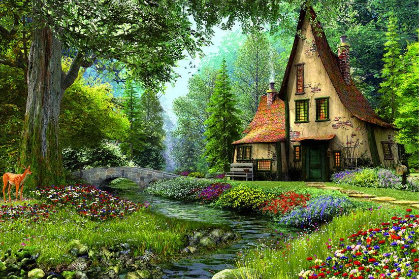 Artistic - Painting Artistic House Fairy Tale Magical Flower Tree Spring  Deer Bridge River Wallpaper