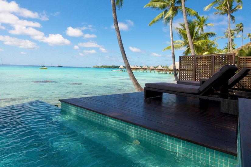 nature, Landscape, Resort, Beach, Atolls, Palm Trees, Sea, Swimming Pool,  Tropical, Bungalow, Water, Summer Wallpapers HD / Desktop and Mobile  Backgrounds