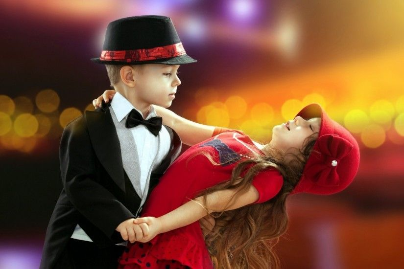 Download Cute Little Boy And Girl Dancing Together HD Widescreen Wallpaper