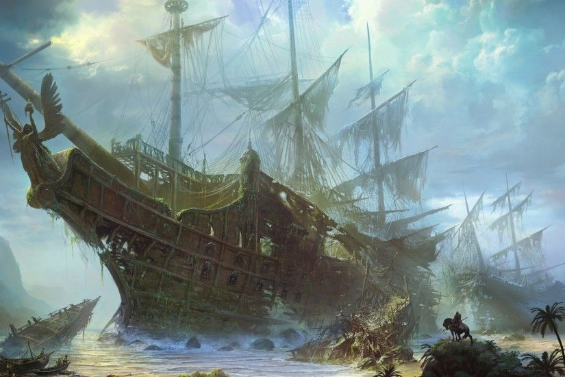 General 1920x1080 ship artwork drawing sailing ship digital art tropical  shipwreck ruin