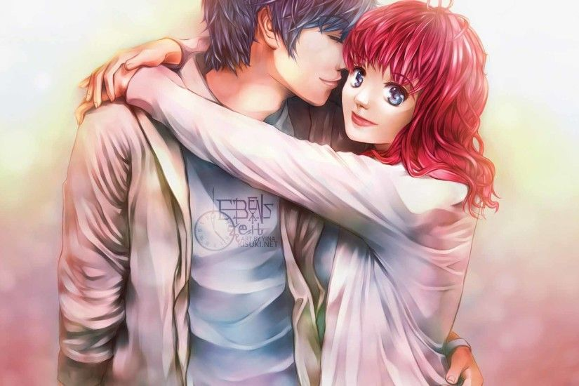 Romantic Anime Couple Hug 3D Wallpapers Collection Pack