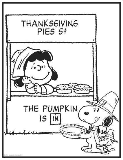Thanksgiving peanuts coloring page