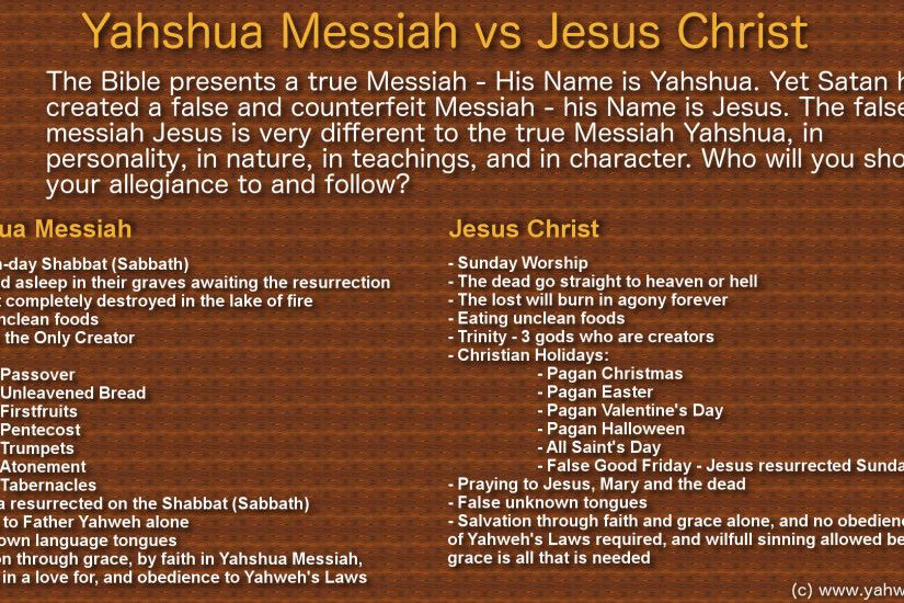 "However, the Christian ""Jesus"" is very different in many teachings and  nature and personality to the true Messiah – Yahshua."