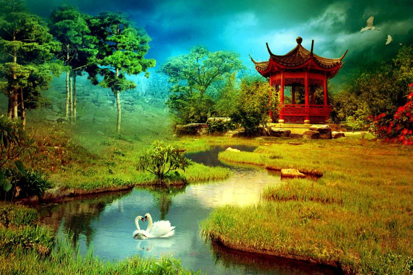 Asian spring park - Flowers & Nature Background Wallpapers on .