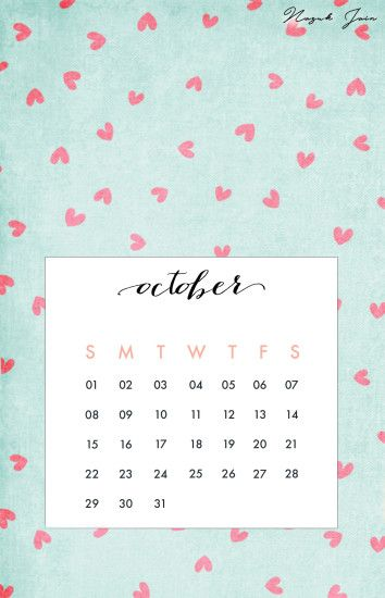 Wallpaper backgrounds · October - Free Calendar Printables 2017 by Nazuk  Jain