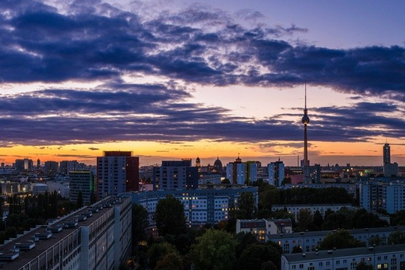 orange sunset tower lilac berlin town night sky building germany panorama  deutschland clouds repair berlin capital