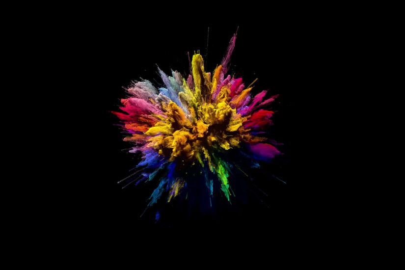 Cg animation of color powder explosion on black background. Slow motion  movement with acceleration in