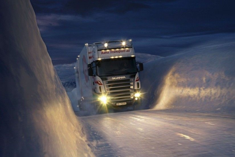 snow night trucks norway trailer vehicles scania headlights wallpaper