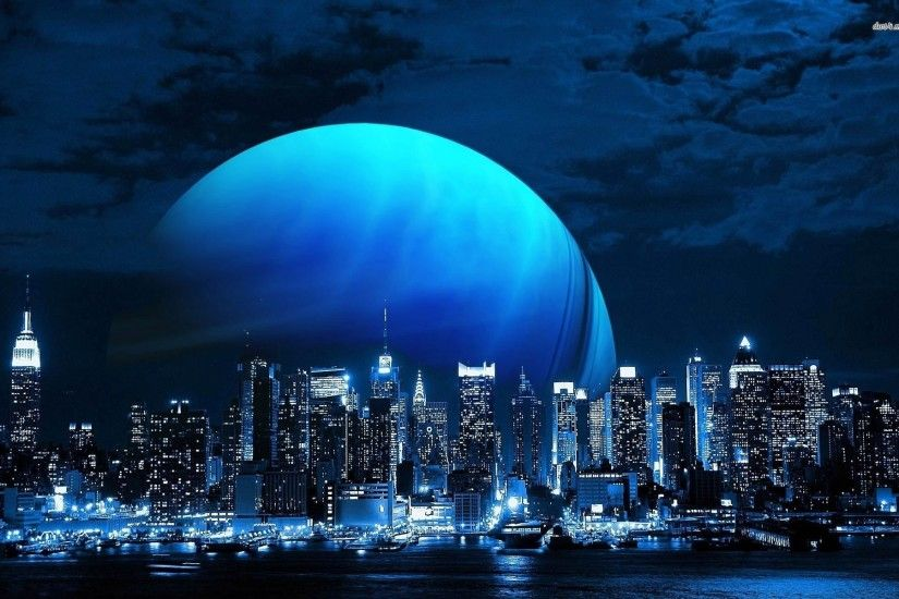 Blue Planet Over The New York City Skyline