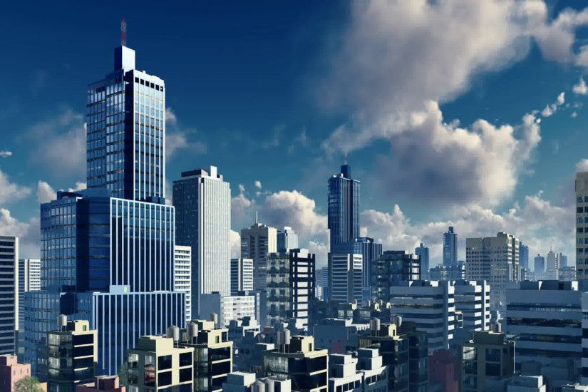 Abstract big city downtown with modern high rise buildings skyscrapers  skyline against blue sky with clouds background. Realistic 3D animation  rendered in ...