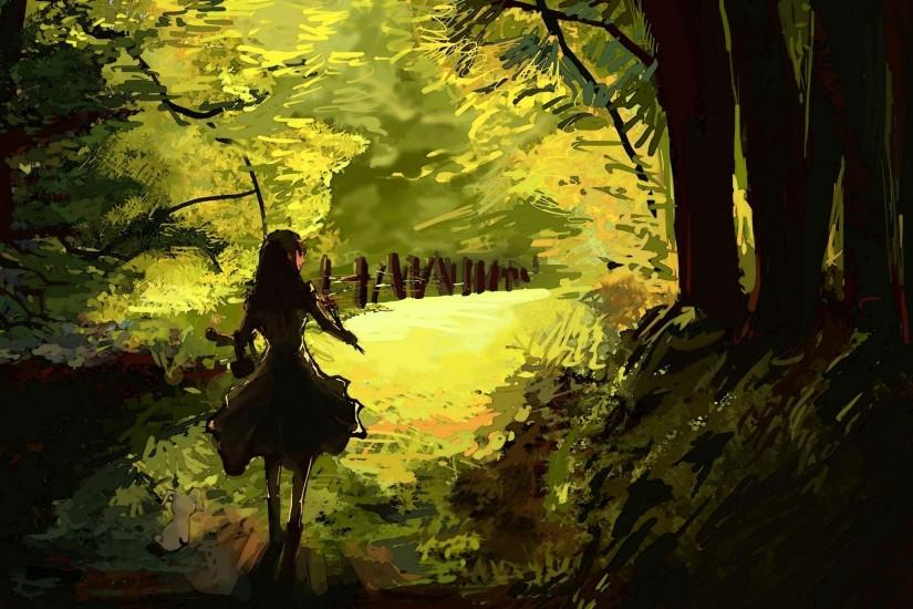 Anime Forest Clearing Background