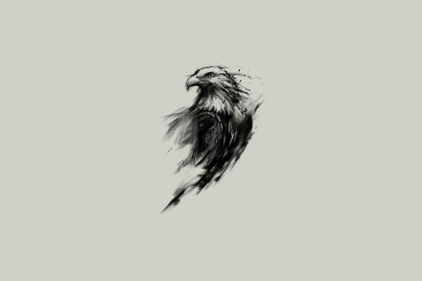 General 1920x1080 eagle bald eagle birds simple background sketches  monochrome animals simple artwork digital art