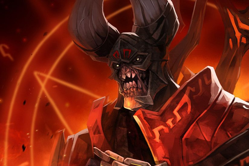 Preview wallpaper lucifer, doom, dota 2, art 2560x1080