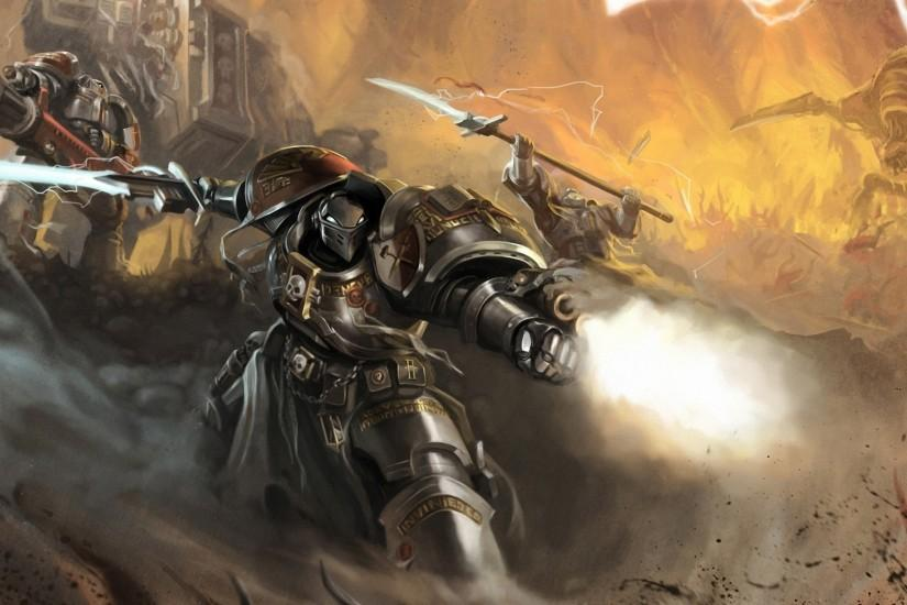 Preview wallpaper okita, warhammer 40k, space marines, robot, weapon, sword,