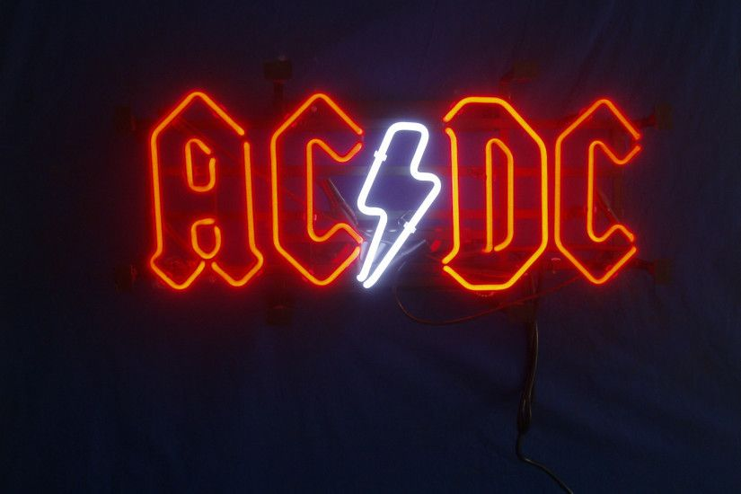 Music - AC/DC Neon Sign Neon Sign Photography Wallpaper