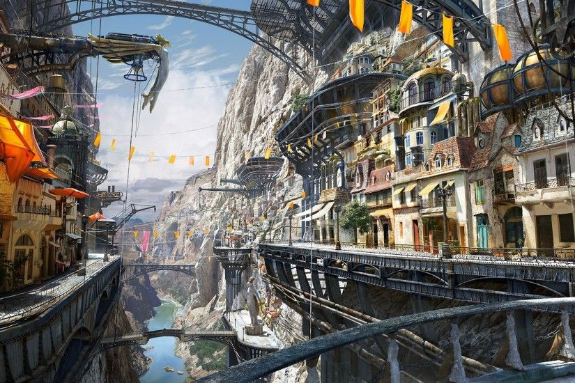 Artwork Steampunk Matte Painting Digital Art ...