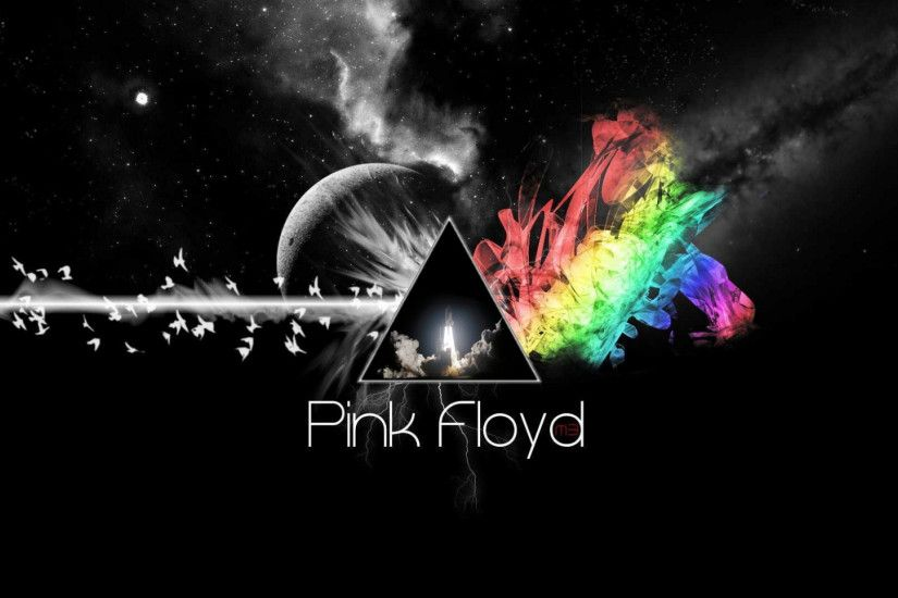 1920x1080 Wallpaper pink floyd, triangle, colors, space, background