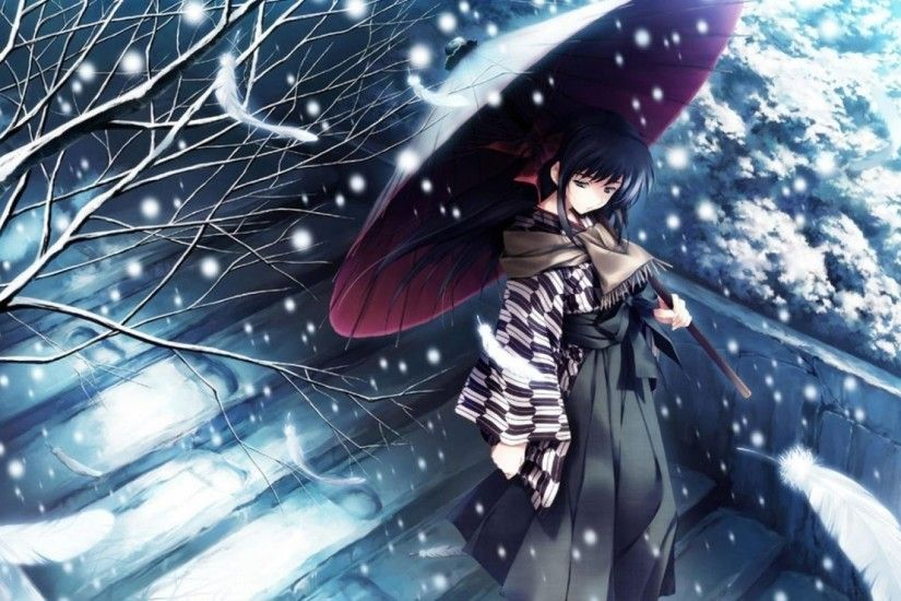 Girl in the snow wint an umbrella Anime HD desktop wallpaper, Umbrella  wallpaper, Winter wallpaper, Snow wallpaper, Woman wallpaper - Anime no.