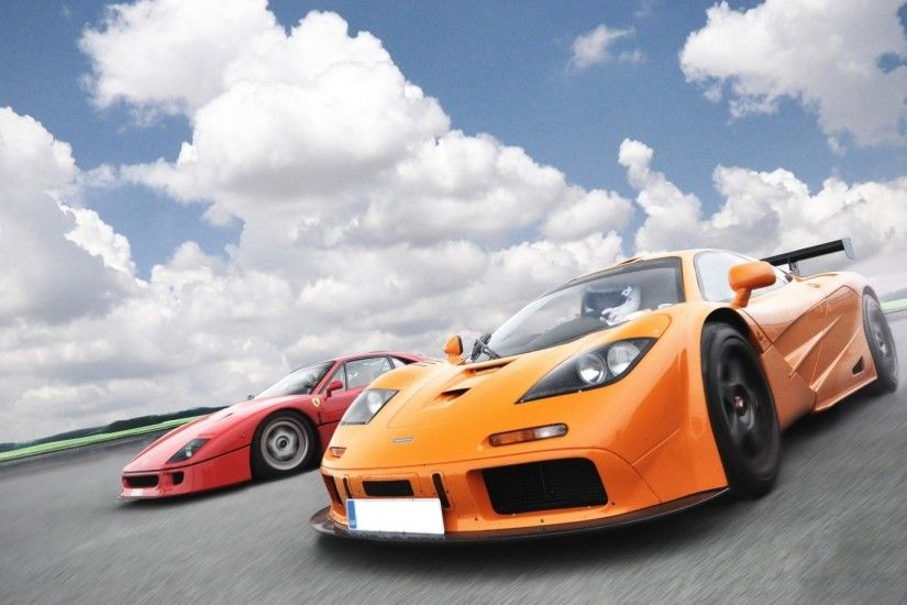 Red and orange Ferrari Supercars:
