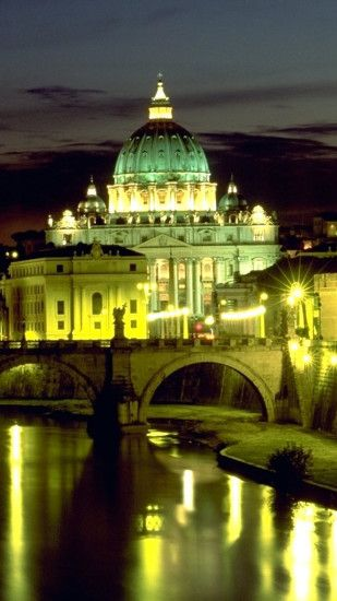 1440x2560 Wallpaper italy, rome, basilica, bridge angel, st peters square,  night