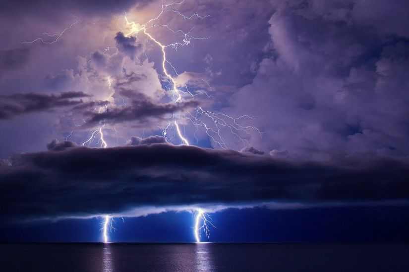 Photography - Lightning Earth Storm Cloud Ocean Sea Purple Horizon Wallpaper