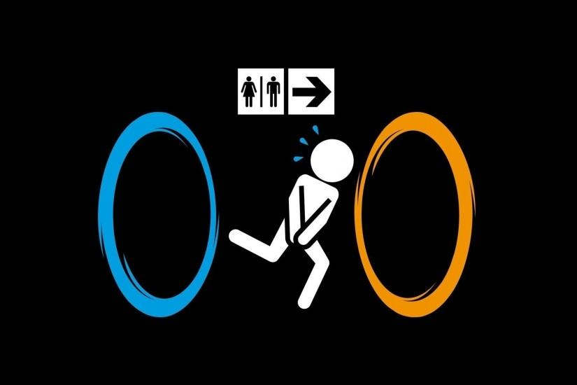 Bathroom Black Background Funny Minimalistic Portal Running Signs Video  Games Wallpaper