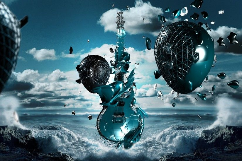 Awesome guitar nature 3D backgrounds.