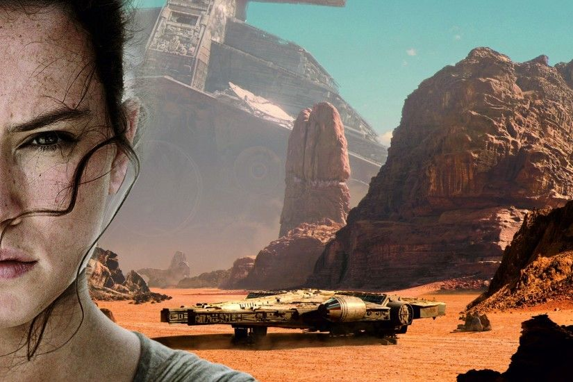 Star Wars: Episode VII The Force Awakens, Daisy Ridley, Millennium Falcon  Wallpaper HD
