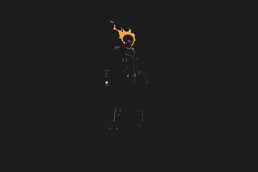Ghost Rider, Minimalism, Fire, Skull, Movies, Dark, Simple Wallpapers HD /  Desktop and Mobile Backgrounds