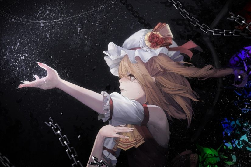 Artwork, anime girl, Flandre Scarlet, blonde and beautiful, 2048x1152  wallpaper