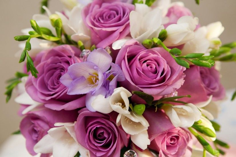 Purple Flowers Bouquet Widescreen Wallpaper