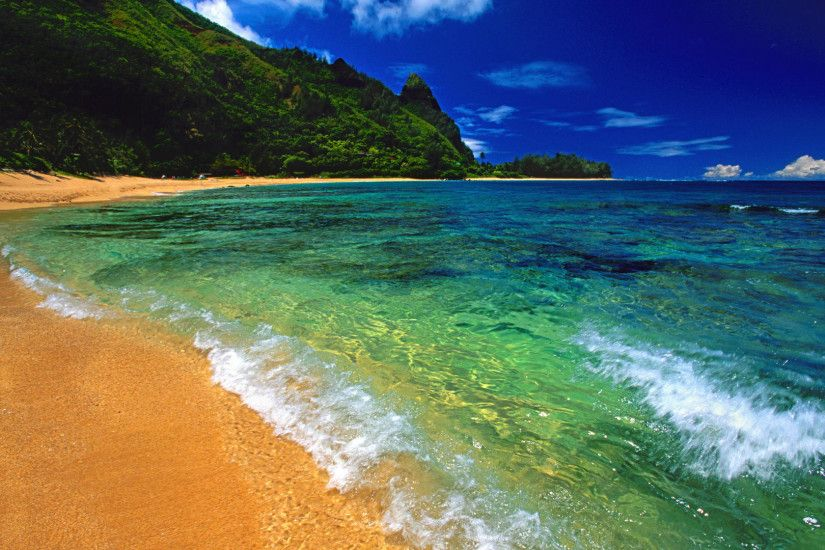 Download Background - Tunnels Beach, Kauai, Hawaii - Free Cool Backgrounds  and Wallpapers for your Desktop Or Laptop.
