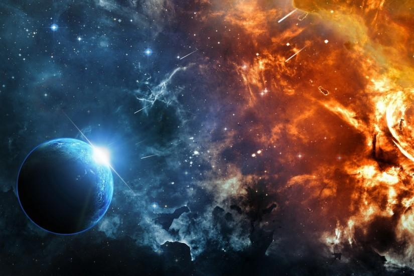 space, Fire, Ice, Planet, Supernova Wallpaper HD