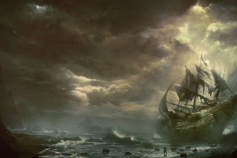Preview wallpaper mountains, clouds, sea, ship, sailboat, destroyed  1920x1080