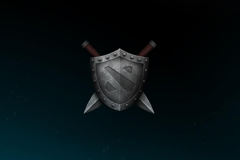 Preview wallpaper dota 2, shield, logo, sword 2560x1080