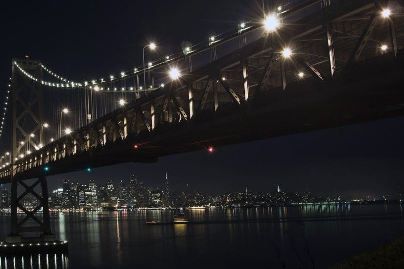 Preview wallpaper city, bridge, sky, nighttime 1920x1080