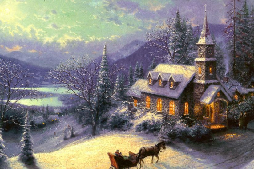Thomas Kinkade Wallpaper, painting, winter, moon, snow, house, chapel