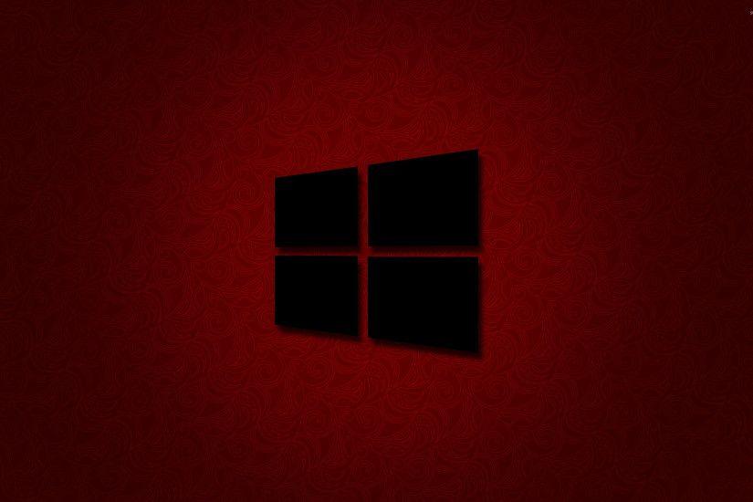 Windows 10 Black Logo On Red Wallpaper