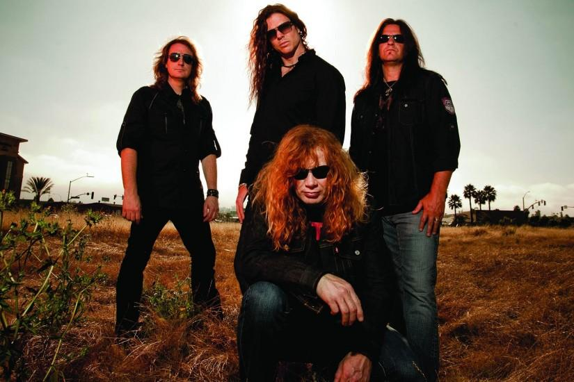 Preview wallpaper megadeth, band, glasses, sky, daylight 1920x1080
