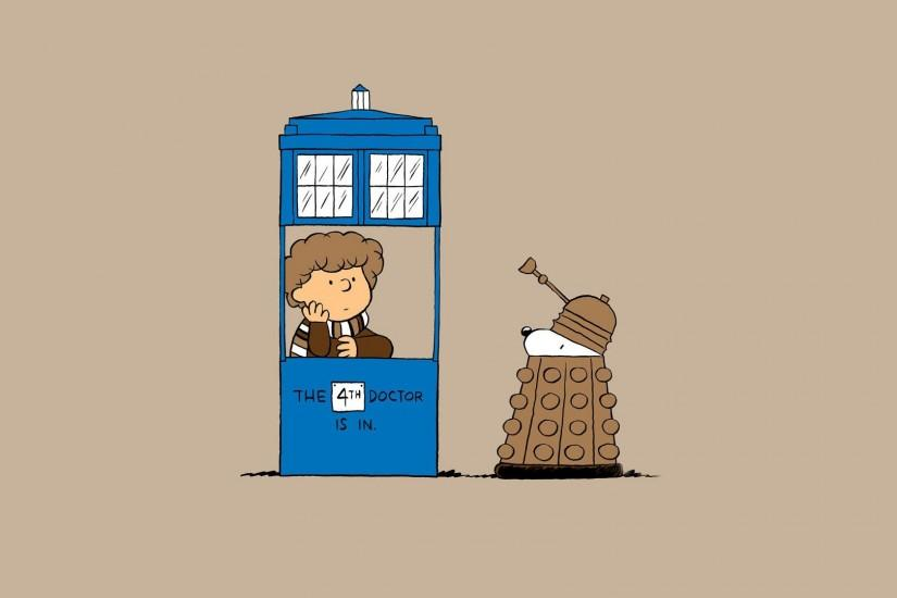 Doctor Who And The Charlie Brown Snoopy Show Crossover Wallpaper