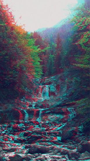 Anaglyph Mountain Green Nature Art #iPhone #7 #wallpaper