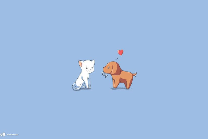 animals love white cat brown dog gift hd wallpaper