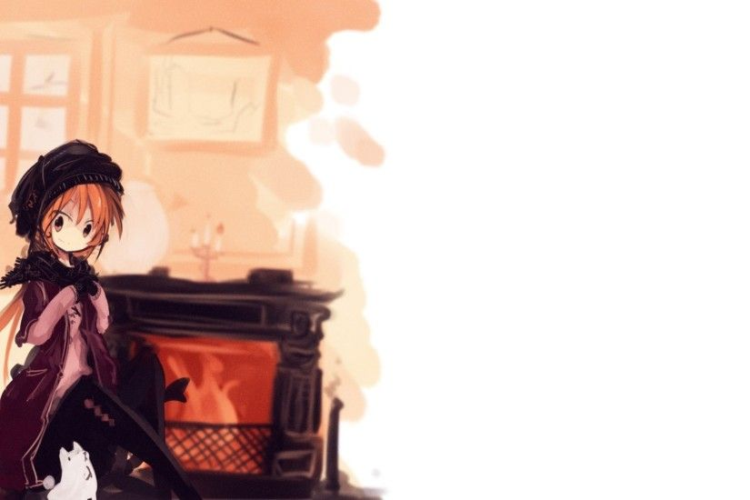 original Characters, Redhead, Dog, Fireplace Wallpaper HD