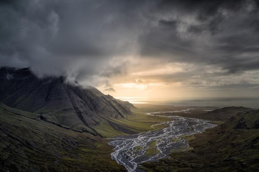 nature, Landscape, Dark, Clouds, Mountain, River, Valley, Sunset, Sea, Iceland  Wallpaper HD