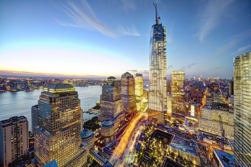 skyscrapers, city, lights, evening, buildings, houses, Manhattan, New York