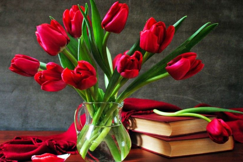 Red tulips HD Wallpaper 1920x1080 Red ...