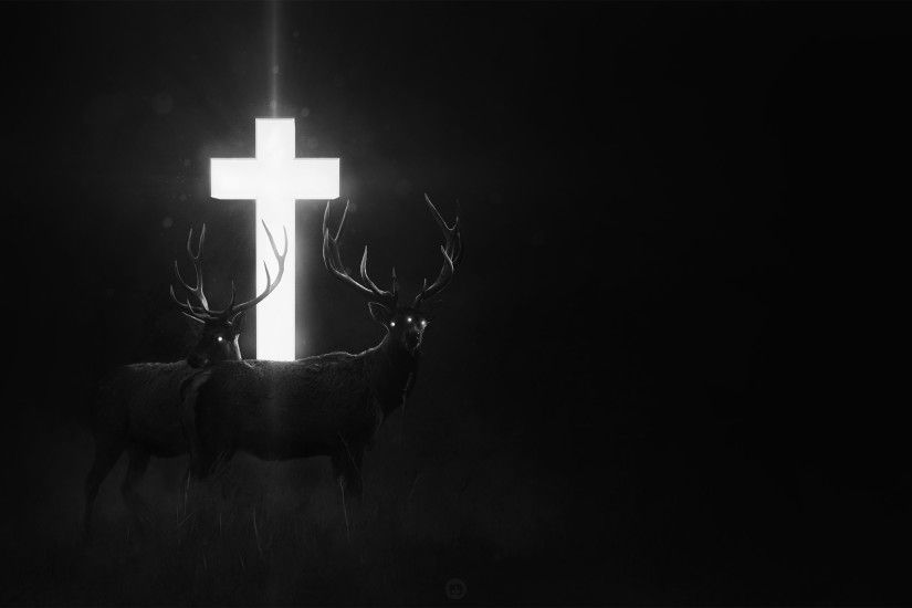 cross, Dark, Deer, Fantasy art, Digital art