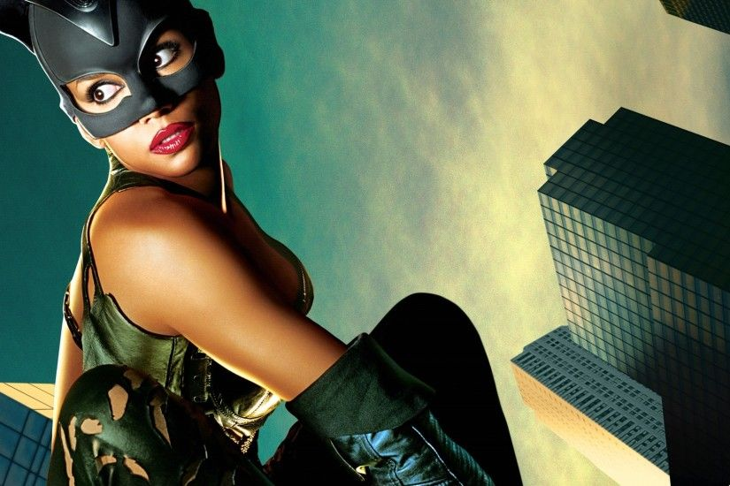 1920x1080 Wallpaper catwoman, halle berry, mask, cat, sky, buildings,  patience