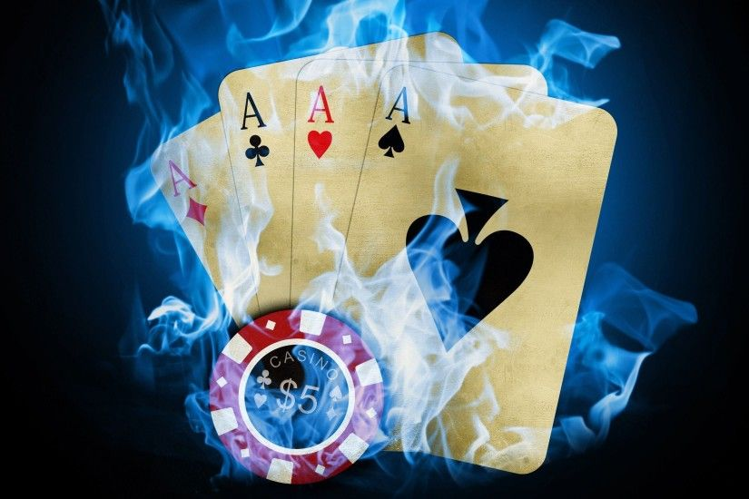 cards, flames, blue, fire, poker, Ace, chip, token :