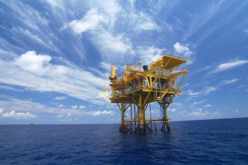 Epic awsome oil rig stock footage gas platform offshore gulf of mexico  Texas Louisiana offshore oil and gas industry economy and environment  coexist Stock ...